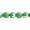 Czech Druk 8mm (Apx 22pcs) Opaque Green Aurora Borealis